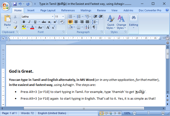 free tamil typing software for ms word